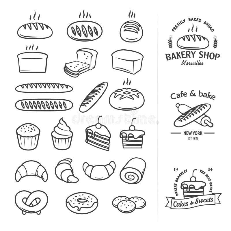 Allini le icone di pane e di altri prodotti da cui potete creare un logo d'annata fresco per le drogherie, i forni, cakery, negoz illustrazione vettoriale