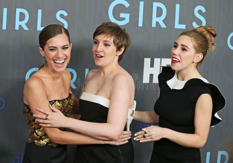 Allison Williams, Lena Dunham, Zosia Mamet fotos de stock