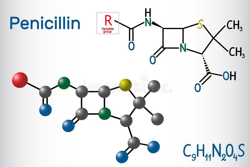 Allmän formel av penicillinPCN-molekylen Det är en grupp av antibiotikummar Strukturell kemisk formel- och molekylmodell vektor illustrationer