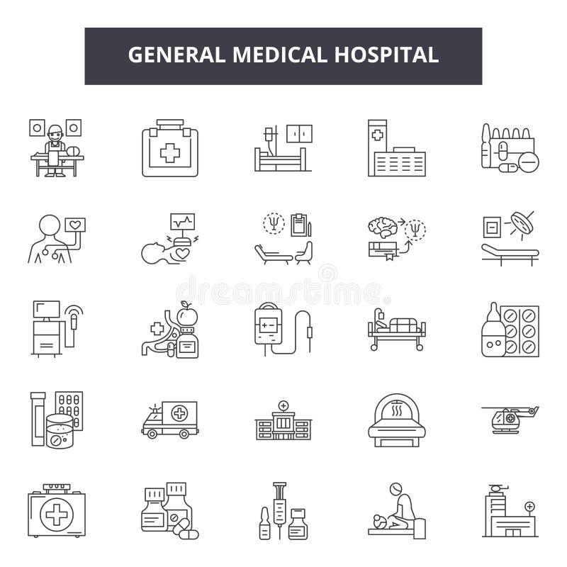 Allmän medicinsk sjukhuslinje symboler, tecken, vektoruppsättning, översiktsillustrationbegrepp vektor illustrationer