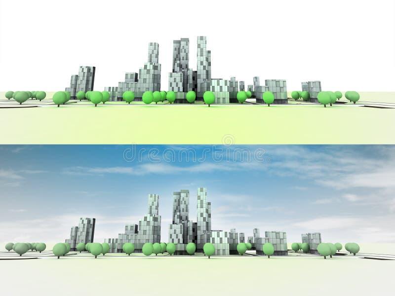 Allmän panorama- cityscapesikt med träd stock illustrationer