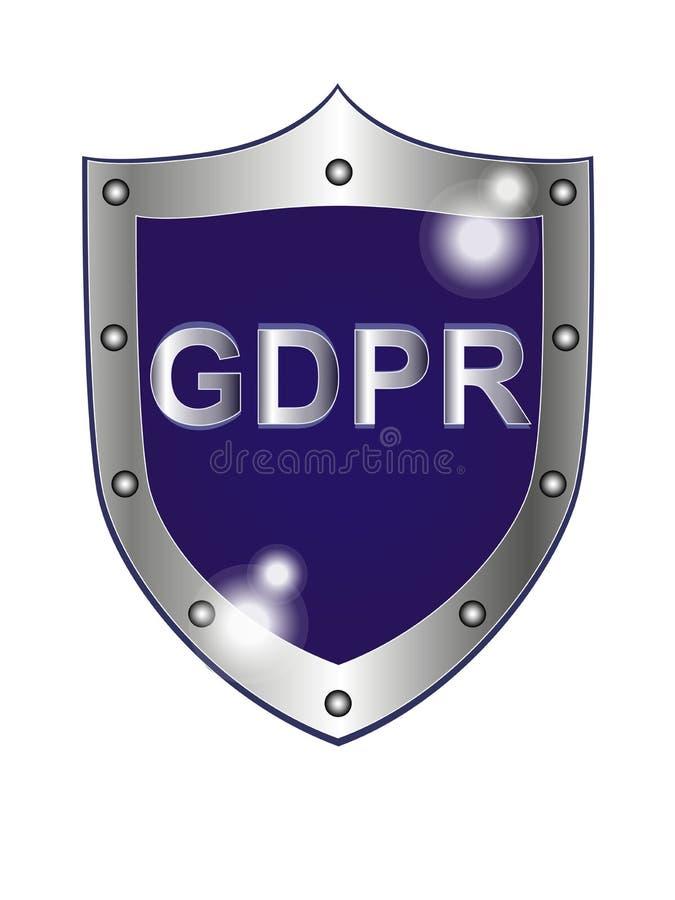 Allmän reglemente på skyddet av personliga data Datasäkerhetsprotokoll Emblem logo vektor illustrationer