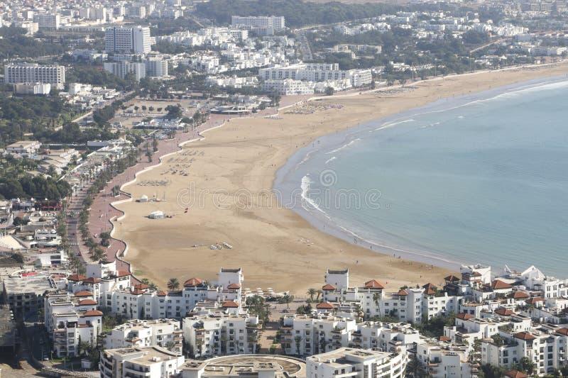 Allmän sikt av Agadir från Kasbahen, Agadir, Marocko arkivfoton