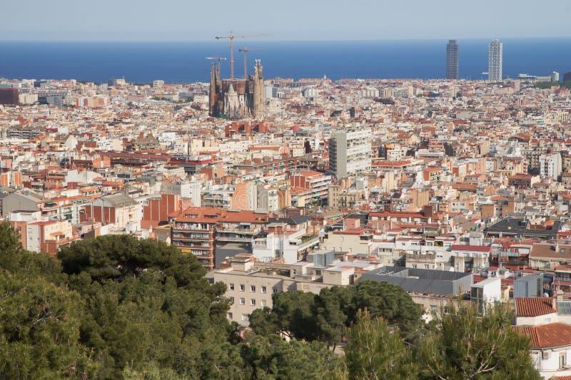 Allmän sikt av Barcelona (Spanien) royaltyfri foto