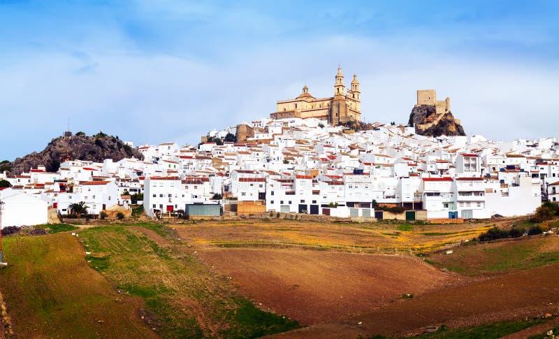 Allmän sikt av den gamla andalusian staden Olvera royaltyfri fotografi