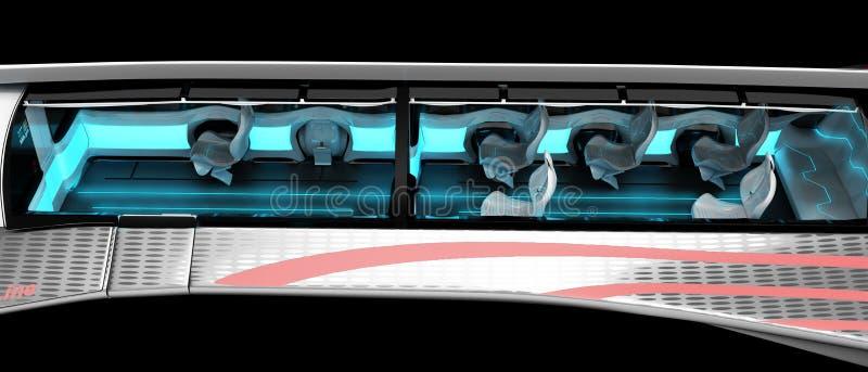 Allmän sikt av inre av det supersoniska flygplanet Orienteringen av det inre utrymmet med placeringen av strömförsörjningen vektor illustrationer