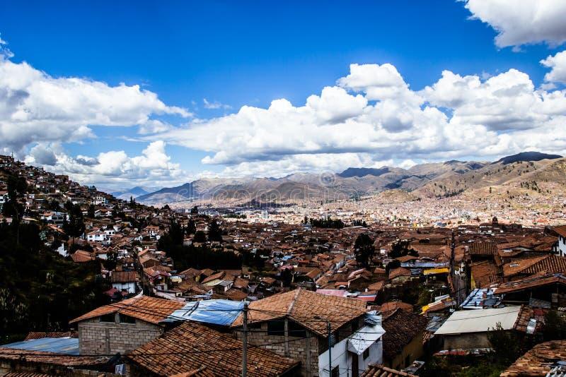 Allmän sikt av staden av Cuzco, Peru royaltyfria foton