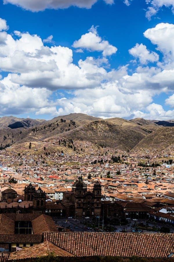 Allmän sikt av staden av Cuzco, Peru royaltyfri fotografi