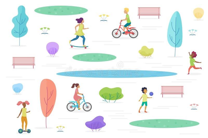 Allmänhet parkerar med att gå, att rida och att spela isolerade ungar Nöjesfält för barnvektorillustration royaltyfri illustrationer