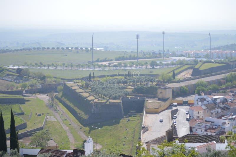 Allmänna sikter av den Walled staden i Elvas arkivbilder