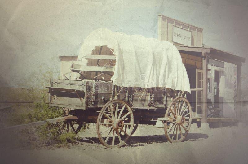 Allmänt lager för vagn- och cowboystad royaltyfri illustrationer
