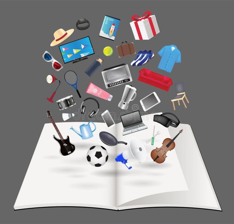 Allmänt objekt som svävar över öppen bokvektor stock illustrationer