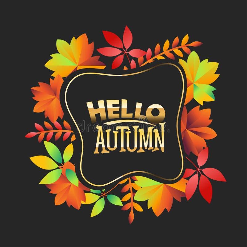 Allo, phrase d'automne. Carte de voeux d'automne avec devis photo libre de droits
