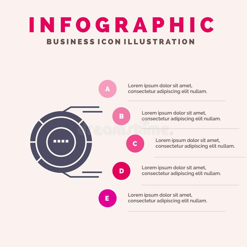Allocation, Analysis, Diagram, Estimation, Resource Solid Icon Infographics 5 Steps Presentation Background vector illustration