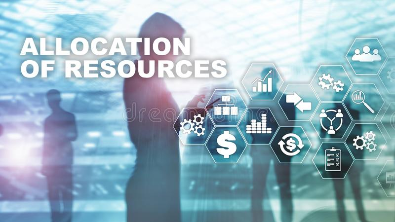 Allocation of resources concept. Strategic planning. Mixed media. Abstract business background. Financial technology and. Communication concept royalty free stock photo