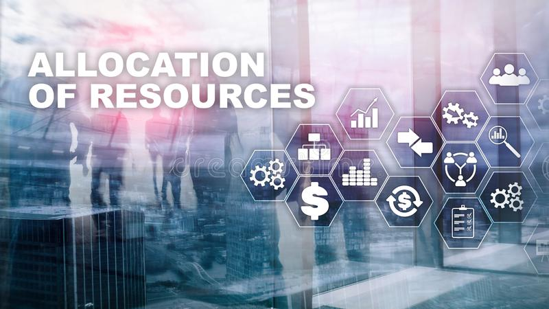 Allocation of resources concept. Strategic planning. Mixed media. Abstract business background. Financial technology and royalty free stock images