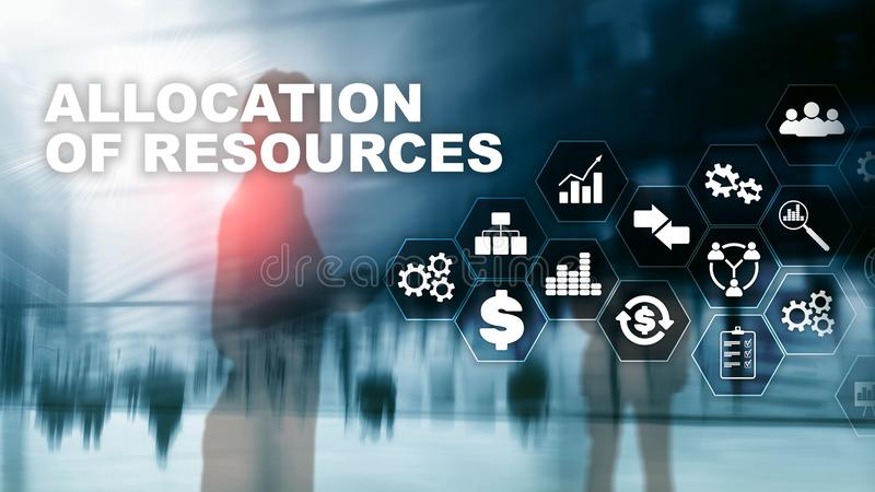 Allocation of resources concept. Strategic planning. Mixed media. Abstract business background. Financial technology and stock photo