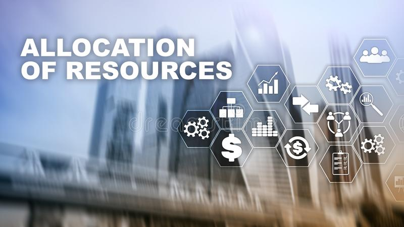 Allocation of resources concept. Strategic planning. Mixed media. Abstract business background. Financial technology and. Communication concept royalty free stock photography
