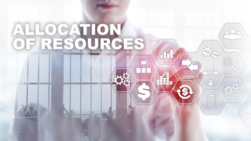 Allocation of resources concept. Strategic planning. Mixed media. Abstract business background. Financial technology and communica royalty free stock photo