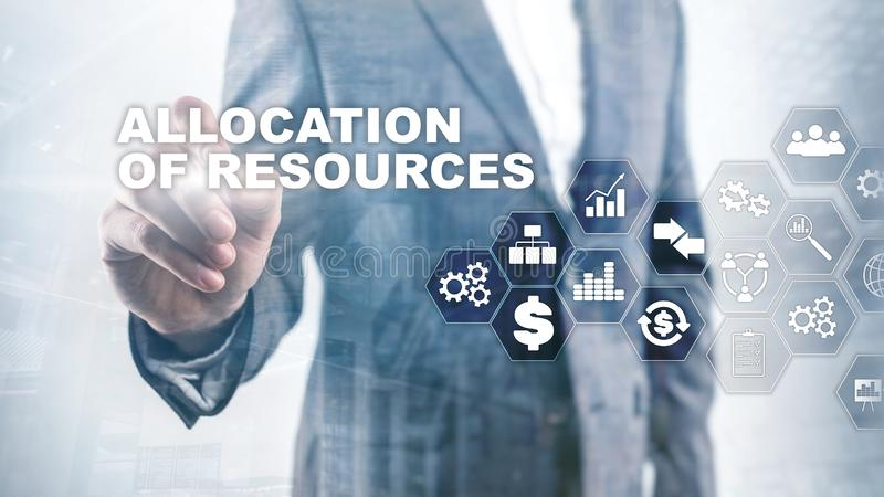Allocation of resources concept. Strategic planning. Mixed media. Abstract business background. Financial technology and. Communication concept stock photo