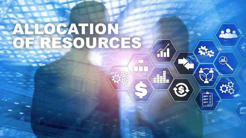 Allocation of resources concept. Strategic planning. Mixed media. Abstract business background. Financial technology and stock images