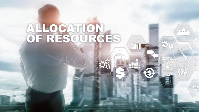 Allocation of resources concept. Strategic planning. Mixed media. Abstract business background. Financial technology and. Communication concept stock photos