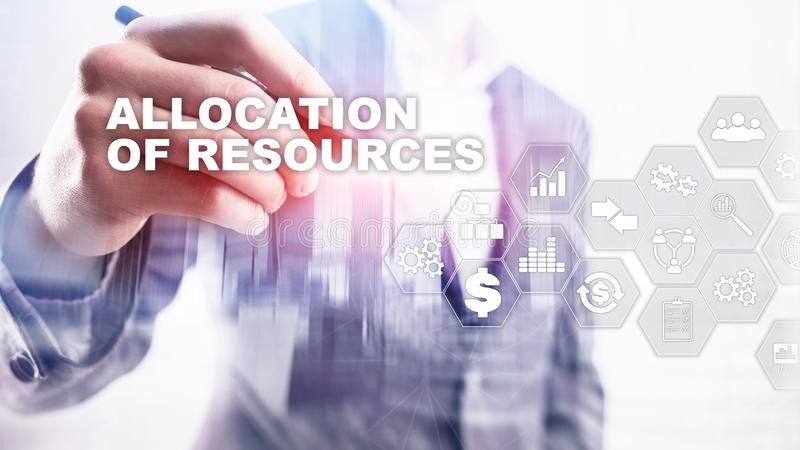 Allocation of resources concept. Strategic planning. Mixed media. Abstract business background. Financial technology and. Communication concept royalty free stock photos