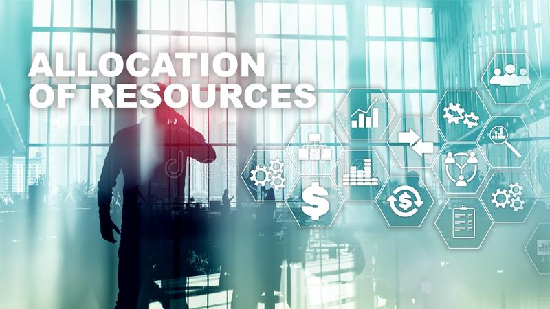 Allocation of resources concept. Strategic planning. Mixed media. Abstract business background. Financial technology and. Communication concept stock images
