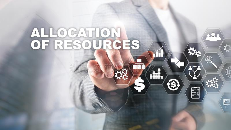 Allocation of resources concept. Strategic planning. Mixed media. Abstract business background. Financial technology and. Communication concept stock image
