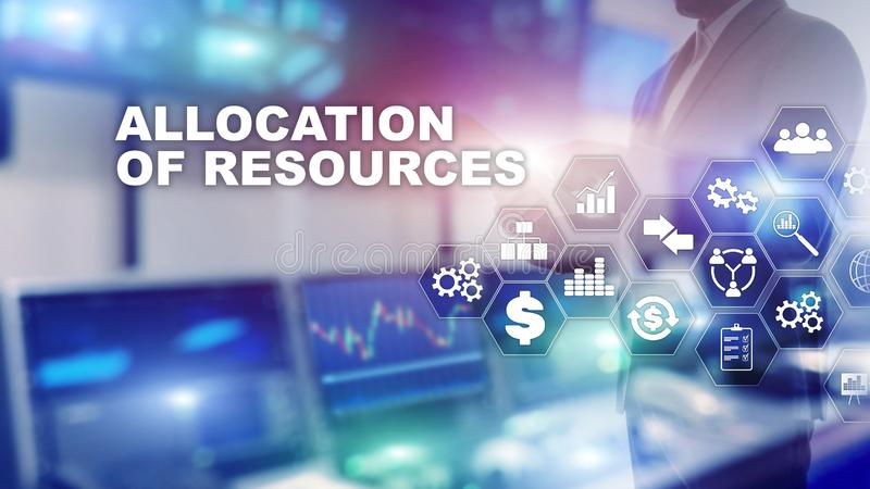 Allocation of resources concept. Strategic planning. Mixed media. Abstract business background. Financial technology and royalty free stock photo