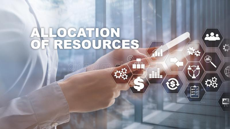 Allocation of resources concept. Strategic planning. Mixed media. Abstract business background. Financial technology and royalty free stock image