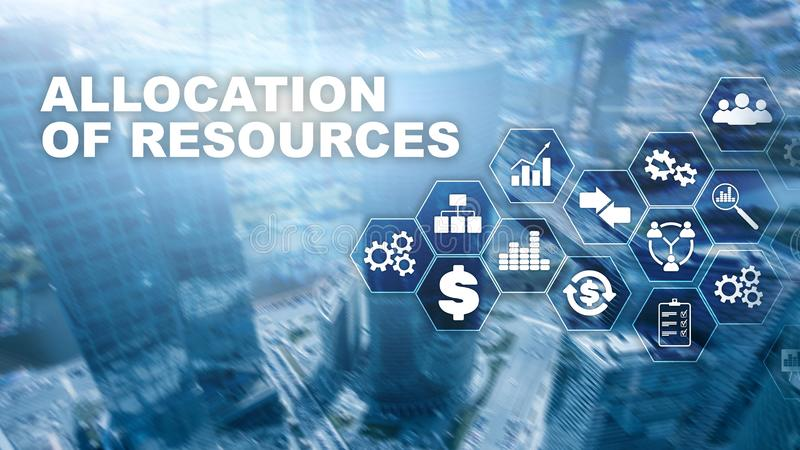 Allocation of resources concept. Strategic planning. Mixed media. Abstract business background. Financial technology and. Communication concept stock photography