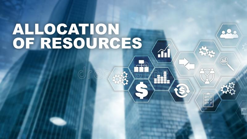 Allocation of resources concept. Strategic planning. Mixed media. Abstract business background. Financial technology and royalty free illustration