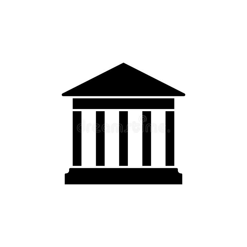 Alloggi con l'icona delle colonne Costruzione dell'istituzione educativa o culturale della banca, di governo, della casa di corte illustrazione vettoriale