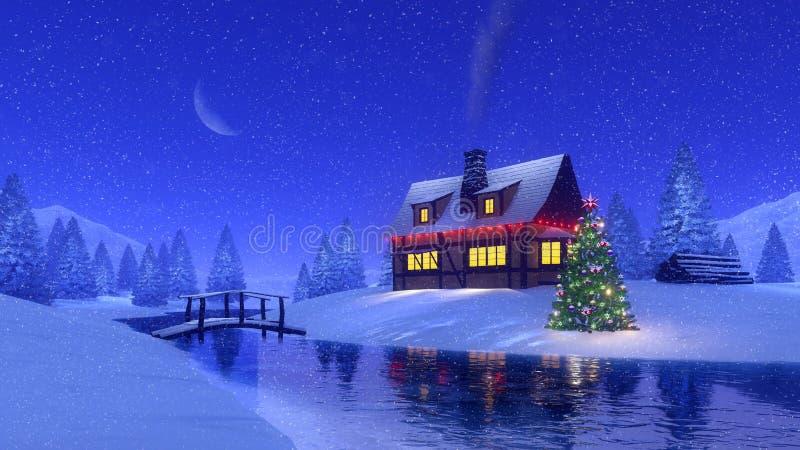 Alloggi e fiume congelato alla notte nevosa dell'inverno royalty illustrazione gratis