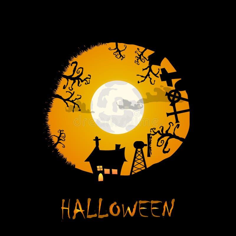Alloggi il fondo di Halloween degli alberi e del cimitero nel circl royalty illustrazione gratis