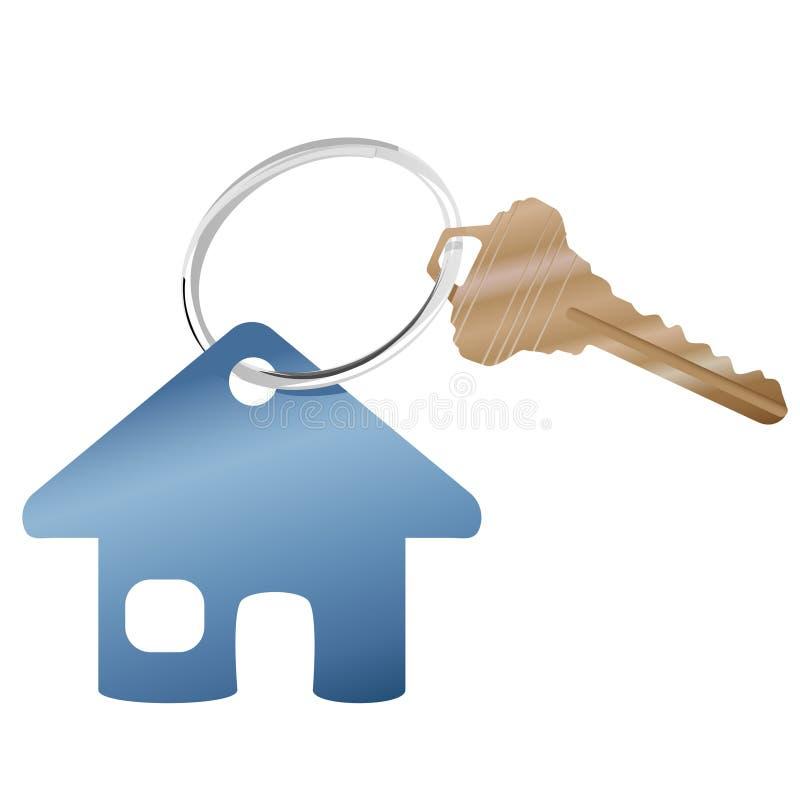 Alloggi il simbolo della casa di Web site del bene immobile & dell'anello chiave illustrazione di stock