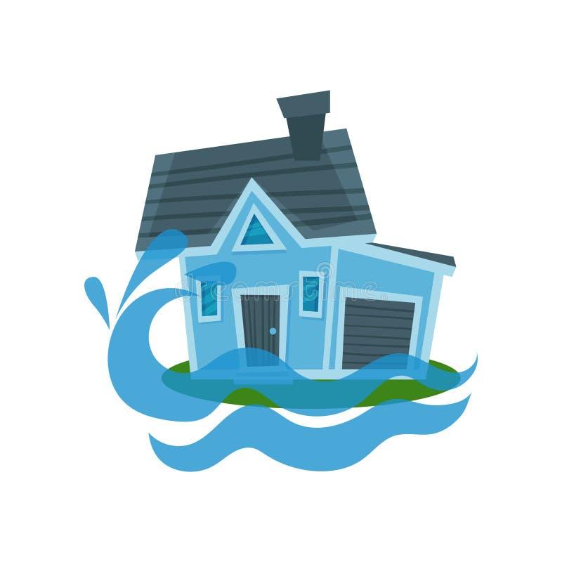 Alloggi l'affondamento in un'acqua, illustrazione di vettore dell'assicurazione di beni illustrazione di stock