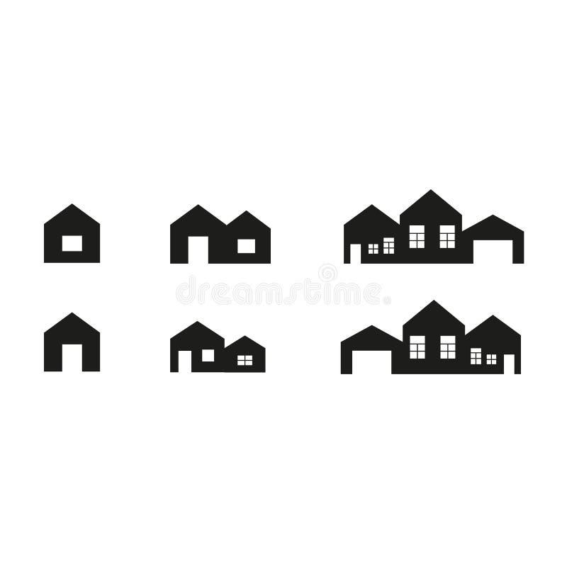 Alloggi l'icona Raccolta semplice della linea relativa domestica icone illustrazione di stock