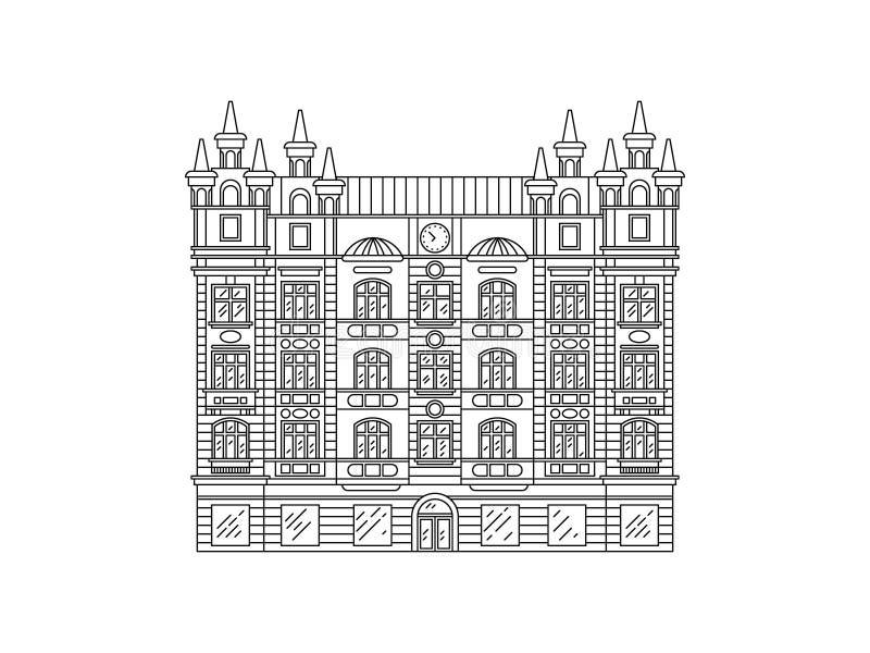 Alloggia il profilo della repubblica Ceca Vecchie facciate europee delle vie e delle case La città di Plzen Linea arte di vettore royalty illustrazione gratis