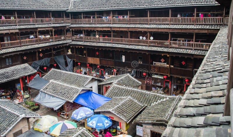 Alloggio del cinese tradizionale di Tulou di hakka nella provincia del Fujian del Ch fotografia stock