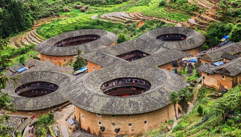 Alloggio del cinese tradizionale di Tulou di hakka nella provincia del Fujian del Ch fotografie stock libere da diritti