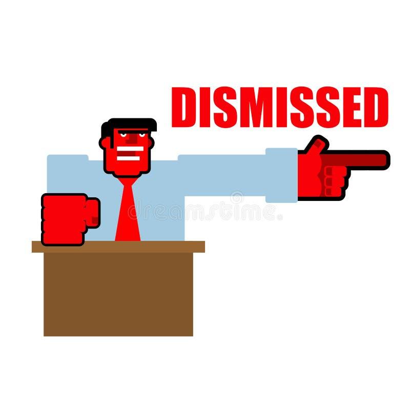 allontanato Punti arrabbiati rossi del Bos alla porta Yel aggressivo di direttore illustrazione di stock