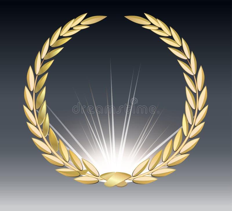 Alloro del premio isolato su un fondo trasparente Modello del vincitore Simbolo della vittoria e del risultato Alloro dell'oro illustrazione di stock