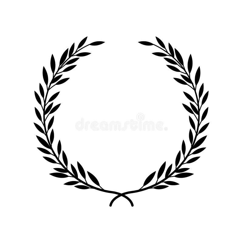 Alloro greco o vettore verde oliva della struttura della corona o della foglia del premio del vincitore isolato su bianco illustrazione di stock