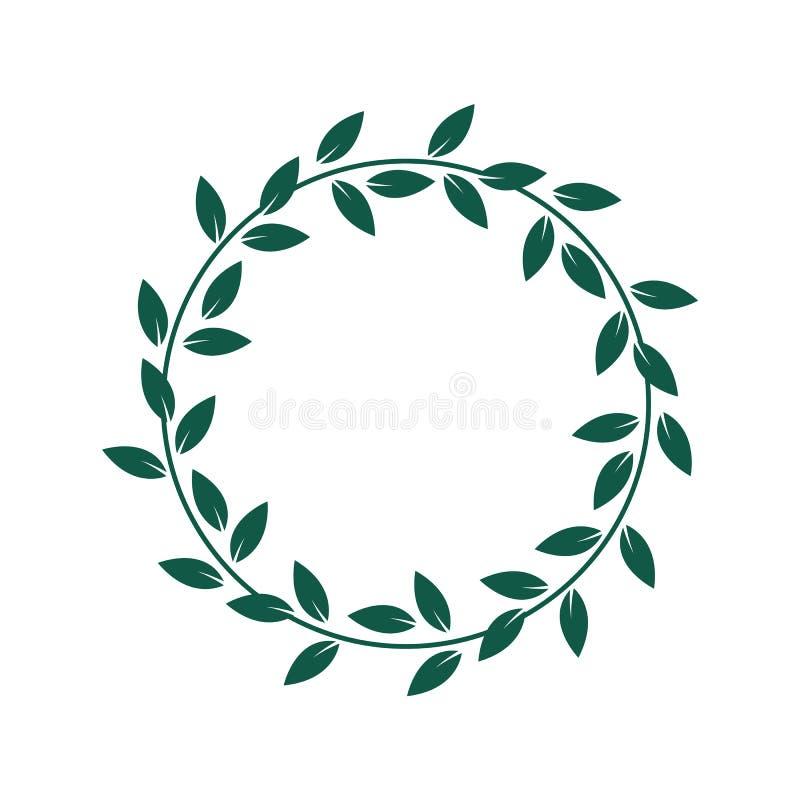 Alloro o corona che verde oliva un premio per l'illustrazione piana di vettore di risultato ha isolato illustrazione di stock