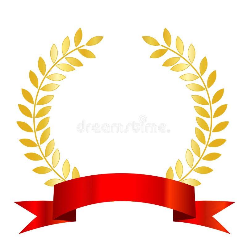 Alloro rosso dell'oro e del nastro royalty illustrazione gratis