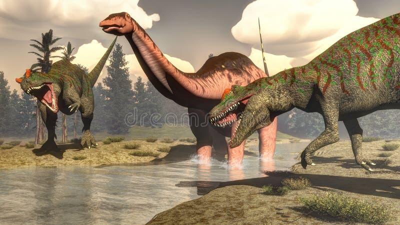 Allosaurus που κυνηγά το μεγάλο δεινόσαυρο brontosaurus - τρισδιάστατο απεικόνιση αποθεμάτων