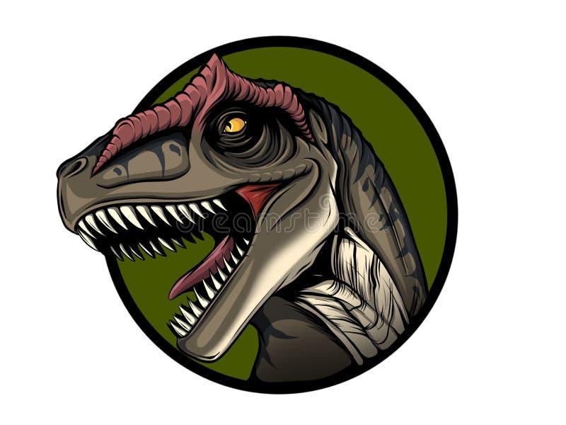 Allosaurus dinosaur Stående Måla den våta vattenfärgen på papper Lättrogen konst göra sammandrag konst vektor illustrationer