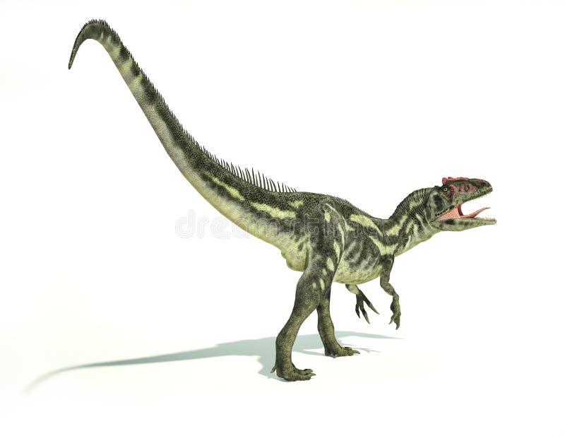 Allosaurus Dinosaurus, representación fotorrealista, po dinámico stock de ilustración